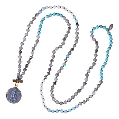 KELITCH Buddha Pendant Necklace for Women Sakyamuni Medal Lucky Long Strand Necklace Handmade Knotted Crystal Beaded Fashion Gift
