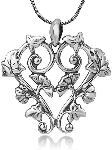 SUVANI Sterling Silver Open Detailed Filigree Ivy Flowers Leaves Heart Vintage Pendant Necklace product image