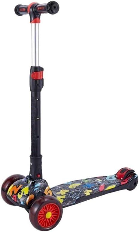 Tbaobei-Baby Scooter Apto for niños de Entre 5 y 14 años de Edad de 3 Ruedas T-Bar Altura del Pedal Ajustable Kick Scooter Vespa, Taxi de Ruedas Cubierta Ancha (Color : Black Letters)