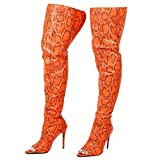 Cape Robbin Toxic Faux Snake Thigh High Over The Knee Boots, Peep Toe Stiletto Heel, Fashion Dress Boots for Women - Orange Size 10