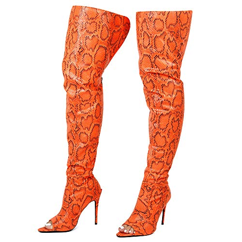 Cape Robbin Toxic Faux Snake Thigh High Over The Knee Boots, Peep Toe Stiletto Heel, Fashion Dress Boots for Women - Orange Size 9