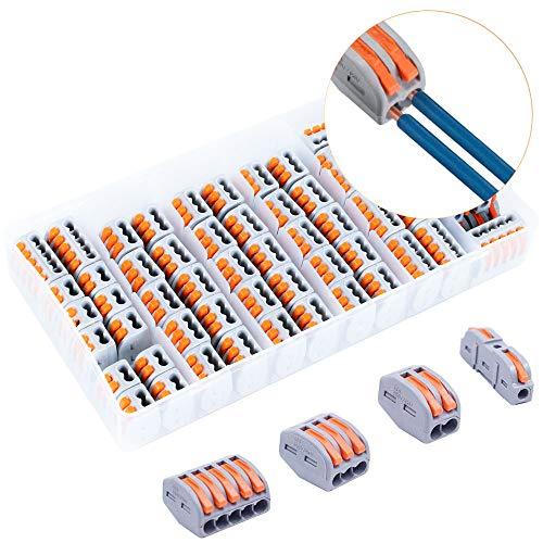 KINDPMA 60 STK Verbindungsklemme 1/2/3/5 Polig Klemmen Steckklemmen Klemmen mit Hebel für Beleuchtungssysteme, Kommunikationssysteme und Sicherheitswarnsysteme