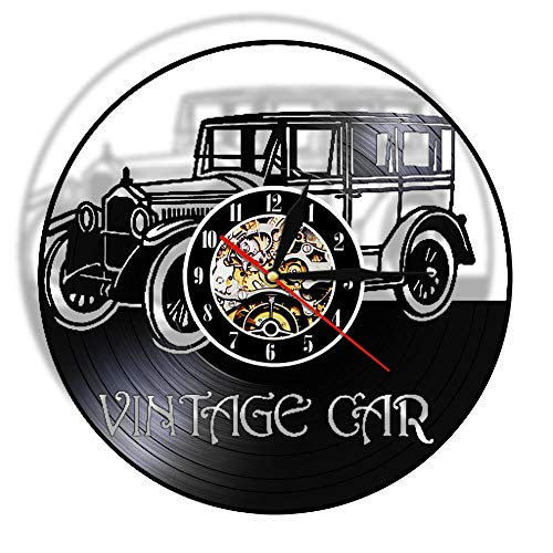 Reloj de Pared de Vinilo LED, Reloj de Pared con Registro de Coche, álbum en Blanco y Negro, Mesa de Pared Negra, decoración del hogar