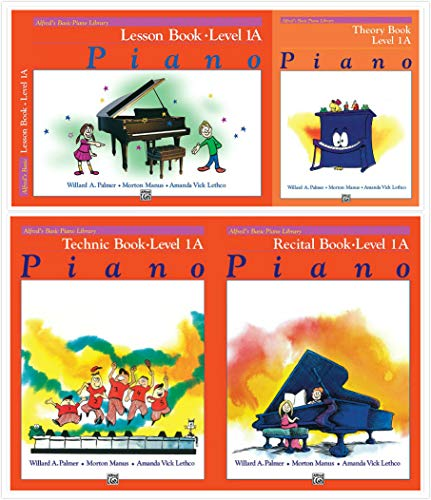 Alfred's Basic Piano Library: Level 1A Books Set (4 Books) - Lesson Book 1A, Theory Book 1A, Technic Book 1A, Recital Book 1A