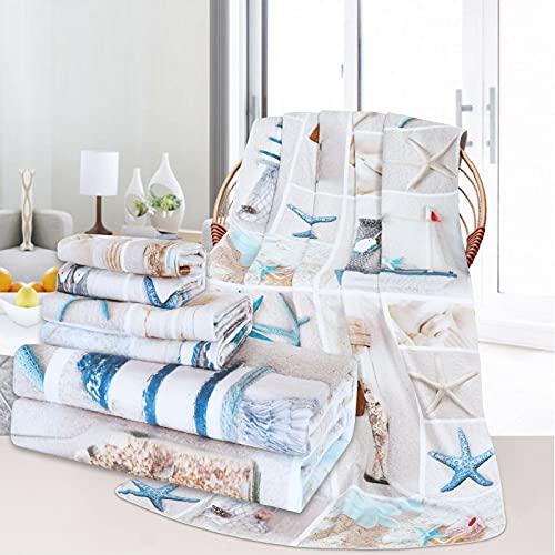 3Pcs Nautical Bath Towels Set Include Bath Towel, Hand Towel and Wash Towel, Starfish Beach Towel Set for Bathroom, Water Absorbent Marine Sail Beach Towel for Travel, Swim, Outdoor