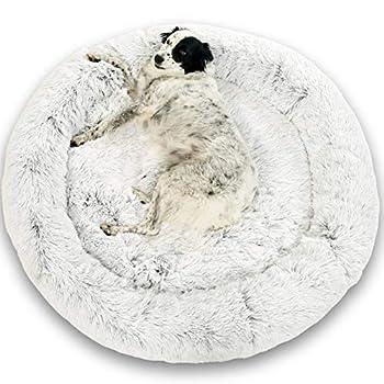 Lit Coussin Chien Chat Apaisant 115cm DODO Donut? Confort+ Rond Cocoon Puppy Love Panière Anti Stress Panier Petit Moyen Grand Soutien Orthopédique Mousse 23 kg/m3 Matelas Dehoussable Lavable XXXL