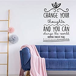 Image: Motivational Wall Decal | Change Your Thoughts And You Can Change The World | Norman Vincent Pale Vinyl Art for Home, Bedroom or Living Room Decor
