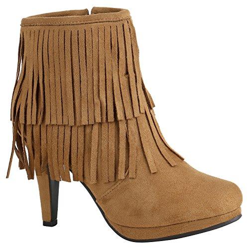 Klassische Damen Schuhe Stiefeletten High Heels Stilettos Schleifen 156999 Hellbraun Fransen 36...