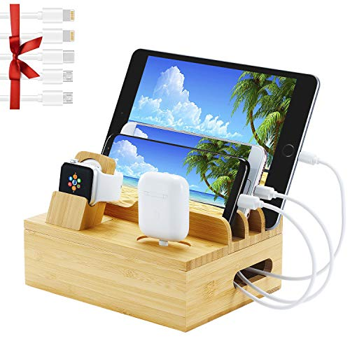Fashionable BambooCharging Station for Apple Watch, AirPods Series,6 in 1 Wooden Docking Station for Multiple Device.