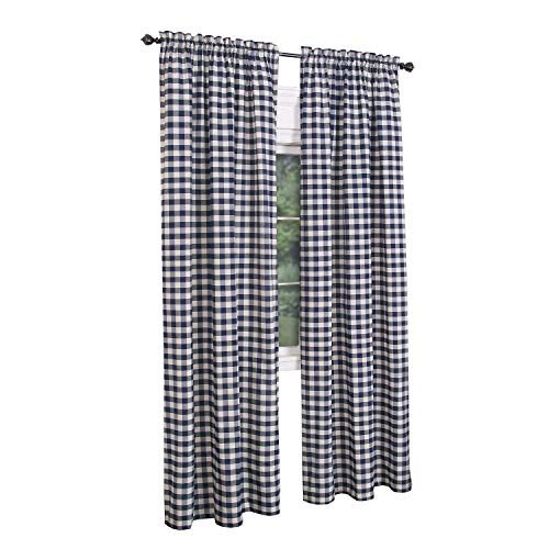 GoodGram Buffalo Check Plaid Gingham Custom Fit Window Curtain Treatments - Assorted Colors & Sizes (Navy Blue, Single 63 in. Panel)