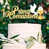 Decoración para tarta de comunión con cáliz y paloma. Ideal para decorar tartas de comunión y tartas. Decoración elegante con diseño de cáliz y paloma. Ideal para decorar tartas y cupcakes.