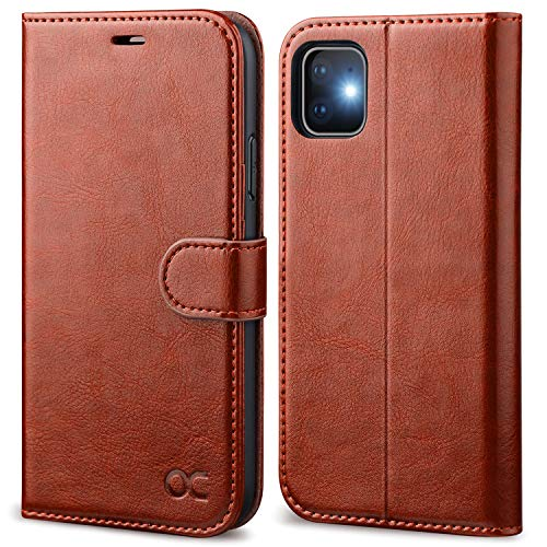 OCASE iPhone 11 Case, iPhone 11 Wallet Case with Card Holder, PU Leather Flip Case with Kickstand and Magnetic Closure, TPU Shockproof Interior Protective Cover for iPhone 11 6.1 Inch (Brown)