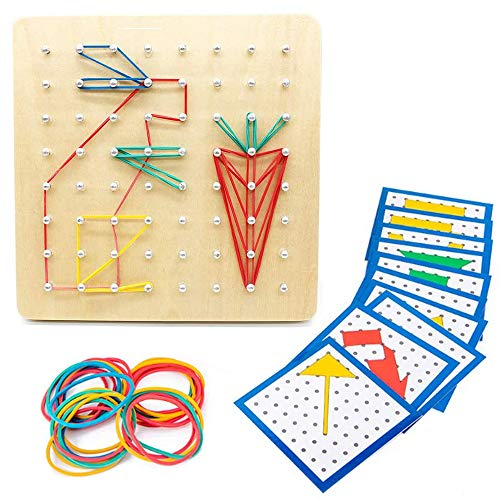 SGVV90 Wooden Geoboard Mathematical Manipulative Material Array Block Geo Board with 23Pcs Pattern Cards and Rubber Bands Shape STEM Puzzle Matrix 8x8 Gift for Children Kids