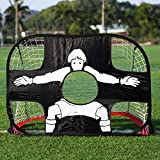BoGeer Portería de fútbol 2 en 1 Plegable y portátil Meta Objetivo para niños Quick Up Portería con Lona de Entrenamiento,Futbol Trainer Entrenamiento Futbol