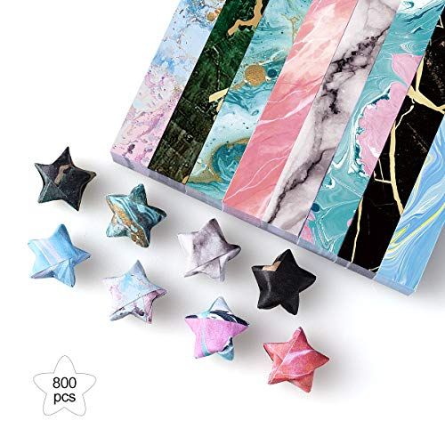 PaperKiddo 800 Hojas Star Origami Paper Marble Pattern Bronze Square Single Sided con 8 diseños únicos Diferentes Fácil de Doblar 24 × 1.2cm