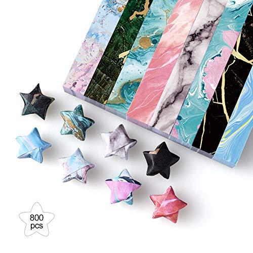 PaperKiddo Origami Papier Set 800 Blätter Marmor Muster Bronzieren Einseitige mit 10 Verschiedenen Einzigartigem Design für Kunst und Bastelprojekte 15 x 15 cm (Marble Strips)