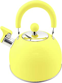 Riwendell 2.7 Quart Whistling Candy ColorTea Kettle Stainless Steel StoveTop 304 Teapot (GS-04011FY, Yellow)