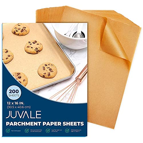 200 Pack Precut Parchment Paper for Baking, 12 x 16 Unbleached Brown Nonstick Liners for Half Sheet Pan