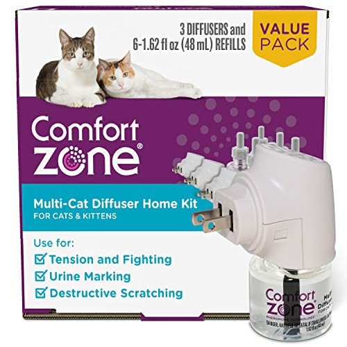 3 Diffusers Plus 6 Refills   Comfort Zone Multi-Cat Calming Kit (Value Pack) for a Peaceful Home   Veterinarian Recommend   Stop cat Fighting and Reduce Spraying & Other Problematic Behaviors