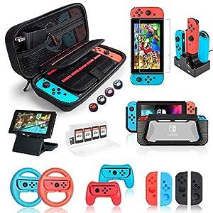 Kit de Accesorios 18 en 1para Nintendo Switch, con Protector de Pantalla, Soporte para Juegos, Tapa del Interruptor, Tapa del Joystick, protección del Cargador para Joy-con Joystick