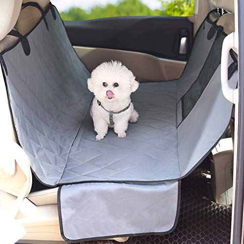Vivaglory Dog Car Hammock with Side Flaps, Quilted & Durable Car Seat Covers for Dogs with Mesh Window, Universal fit for Most Cars, SUVs & MPVs, Grey