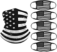 Trikahan American Flag Bandana, 1 Seamless Face Bandanas Balaclava and 5 pcs Washable Dust Cotton for Outdoor,Sports