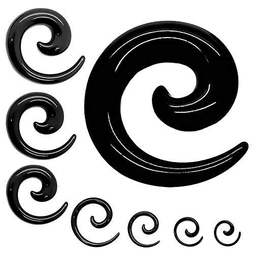 Tumundo® 1 Stück oder 1 Set Dehnschnecke Plug Stopfen Schwarz Bis 16mm Piercing-Schmuck Dehnungsstab Spirale Expander