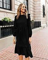 The Drop Vestido para Mujer, Midi Escalonado, con Volantes en los Hombros, Negro, por @fashion_jackson, XS