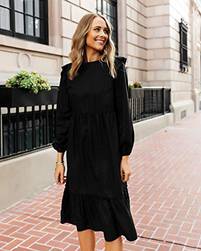 The Drop Women's Black Ruffle-Shoulder Tiered Midi Dress by @fashion_jackson