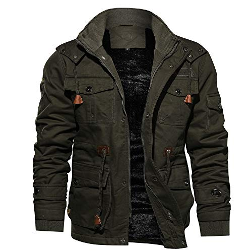 Riou Herren Bomberjacke Winterjacke Winter Baumwolle Militär Jacken Pocket Tactical Verdicken Übergangs Mäntel Draussen Windbreaker...