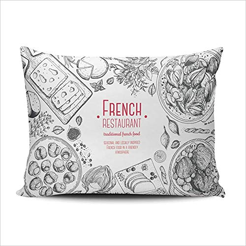 DKISEE Lumbar Pillowcases Home Decor Classic French Dishes Pillowcase Soft Zippered Throw Pillow Cover Cushion Case Double Sized Printed 12x20 inches