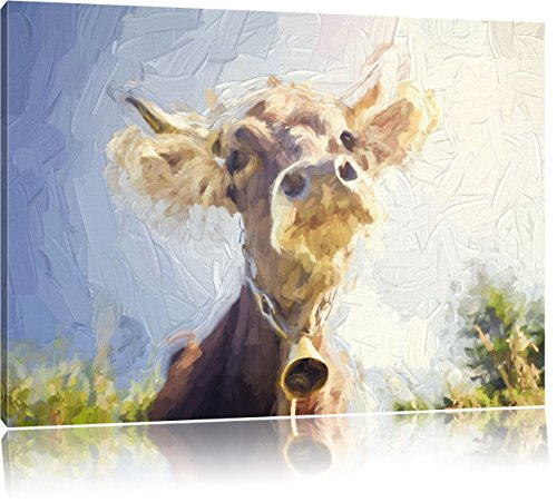 Pixxprint Portrait Einer Kuh als Leinwandbild | Größe: 120x80 cm | Wandbild| Kunstdruck | fertig bespannt
