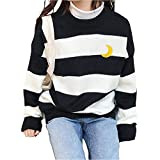 dog dog Women Kawaii Ulzzang College Wind Candy Contrast Striped Moon Sweater Winter Knitted Pullover Clothing (Black)