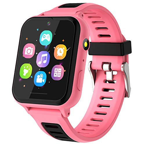 Kids Smart Watch, Kids Game Smartwatch for Boys Girls with Camera Video Alarm Clock Record Music Player Calculator HD Touch Screen Children Wrist Watch for Kids Age 4-12 Birthday Gift(Pink)