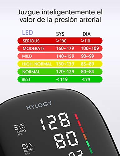 51FIWHm73TL - HYLOGY Tensiómetro de Brazo, Monitor de Presión Arterial Digital Automatico con Gran Pantalla Led, Deteccion de Irregular Arritmia, Brazalete 22-42cm, 2x90 Memoria y Usb