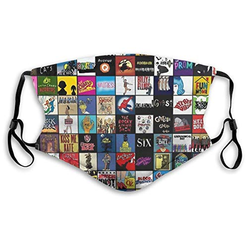 Masks-Broadway - Funda de algodón reutilizable para teatro musical, antipolvo, color negro