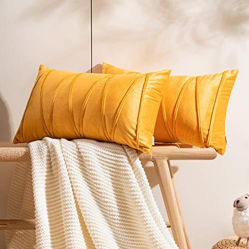 Topfinel Samt Kissenbezüge 30x50cm 2er Set Kissenhülle Gestreift als Dekokissen Sofakissen mit Verstecktem Reißverschluss für Sofa und Terrasse Büro Gelb