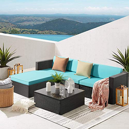 Waleaf Upgraded Outdoor Furniture Rattan Sectional Patio Sofa, Outdoor Indoor Backyard Porch Garden Poolside Balcony Wicker Conversation Set with Glass Table (5 Pieces, Light Blue)