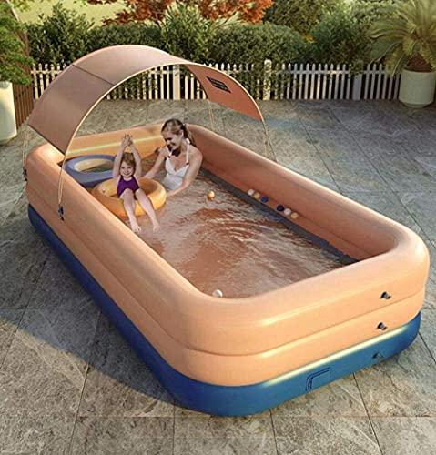 ZSCC Uppblåsbar pool Familjens simbassänger över marken med solskyddsgardin Fullstor barnpool för barn Vuxna Baby Garden