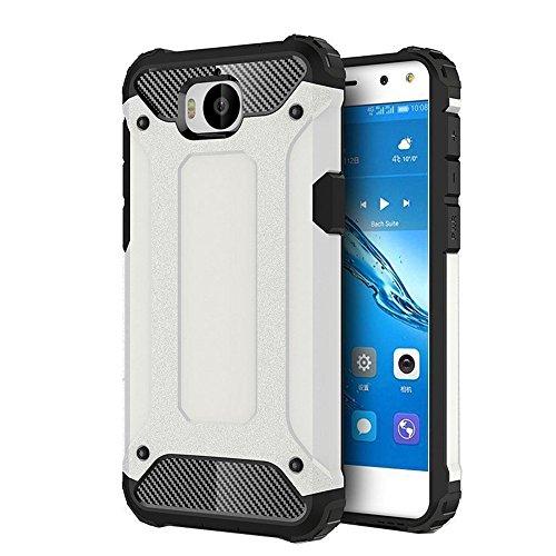 FLHTZS Funda Huawei Nova Young Mya-L11 Carcasa Caja de teléfono móvil, combinación TPU + PC, Hermosa Mano de Obra(Blanco)