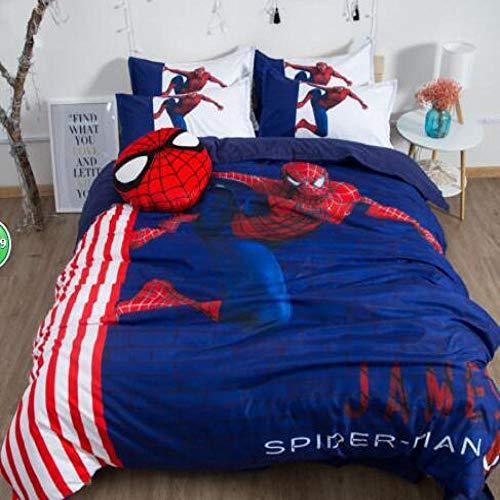Hllhpc Dormitory beddengoed set van vier 1,5 m bed student enkele schuurplaat driedelige dekbedovertrek spiderman 1.5m (5 voet bed) beddengoed