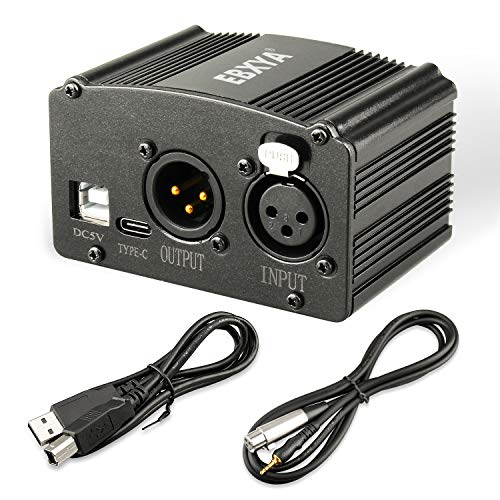 1-Channel 48V Phantom Power Supply with USB Cable, XLR to 3.5mm Cable (6 feet) for Condenser Microphone Music Recording Equipment