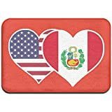 Odelia Palmer American Peru Flag Heart Felpudo Interior/Exterior para Muebles para el hogar Cocina