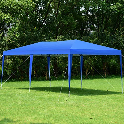 Tangkula 10'X20' EZ Pop Up Tent Gazebo Outdoor Garden Wedding Party Canopy Shelter with Carry Bag (Green/Blue) (Bule)
