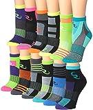 Ronnox Women's 12-Pairs Running & Athletic Sports Performance Ankle/Quarter Socks, RQ14-AB-SM