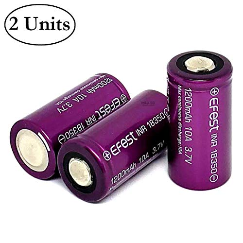 2 Pack of IMR 18350 Battery, 1200mAh 3.7V 10A, Flat Top, Purple Rechargeable Batteries, for Flashlight