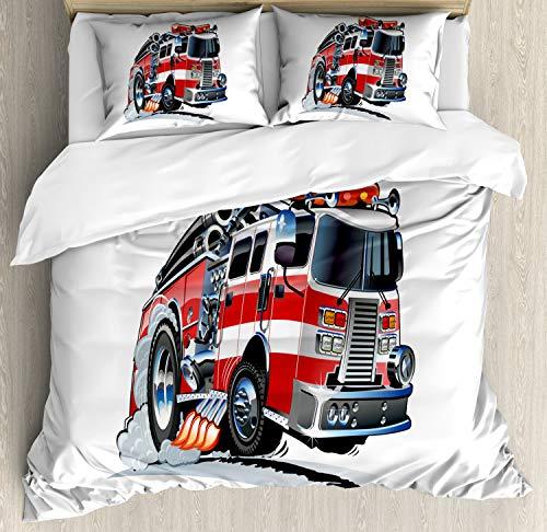 ABAKUHAUS LKW Bettbezug Set Doppelbett, Feuerwehr LKW, Kuscheligform Top Qualität 3 Teiligen Bettbezug mit 2 Kissenbezüge, Babyblau Scharlachrot