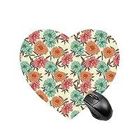 ゲーミング マウスパッド ハート型 高級感 20x22cm フローラル 夏の花とガーデニングの装飾デザイン野生生物イラスト暖かい色装飾
