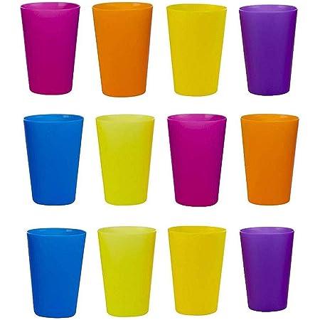 TOYMYTOY プラスチック カップ プラカップ 飲みカップ マルチカラー色 ランダムカラー 再利用可能 耐熱プラコップ コップ キャンプ用品 幼稚園 保育園 屋外 12ピース