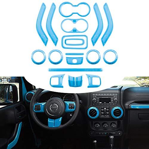 Opall 18PCS Full Set Interior Decoration Trim Kit Steering Wheel & Center Console Air Outlet Trim, Door Handle Cover Inner For Jeep Wrangler 2011-2018 2 Door & 4 Door (Light Bule)
